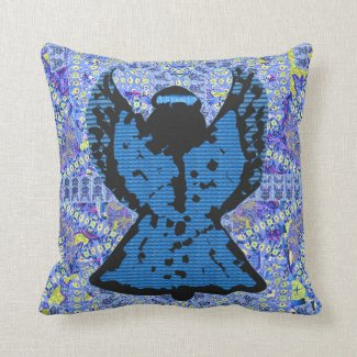 Blue And Black Angel Pillow