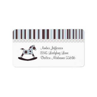 Blue And Brown Rocking Horse: Address Labels