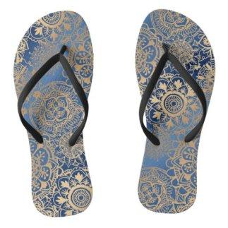 Blue and Gold Mandala Pattern Flip Flops
