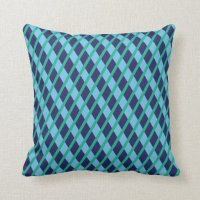 Blue and Green Patterned Throw Pillow | Zazzle