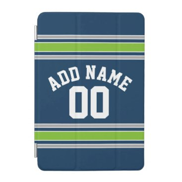 Blue and Green Sports Jersey Custom Name Number iPad Mini Cover