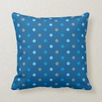 Blue and Grey Polka Dot Throw Pillow   Zazzle