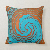 Blue and Orange Abstract Wave Art Pillow   Zazzle