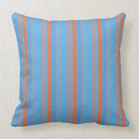 Blue and Orange Stripes Throw Pillow   Zazzle