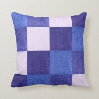 Blue and White Checkered Fabric Design Throw Pillow | Zazzle