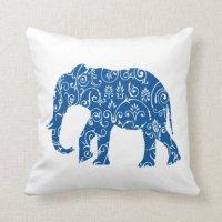 Blue and white elephant throw pillow | Zazzle