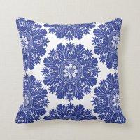 Blue and White Porcelain Baroque Throw Pillow | Zazzle
