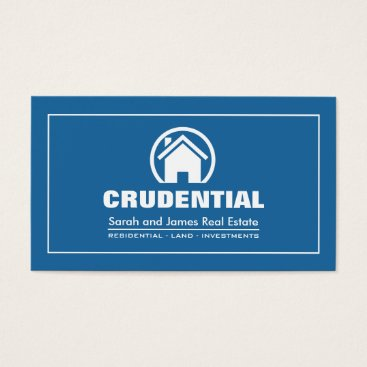 Blue and White Professional Real Estate Broker Business Card