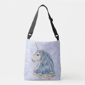 Blue and White Unicorn Drawing Tote Bag