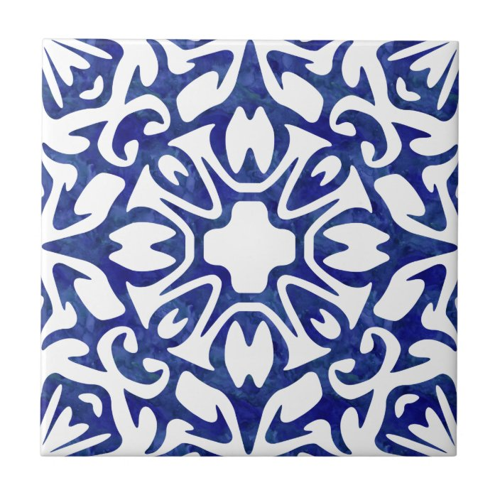 blue and white watercolor spanish pattern ceramic tile zazzle com