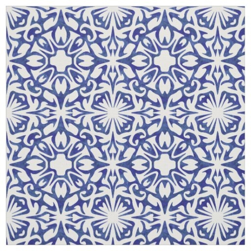Blue And White Watercolor Spanish Tile Pattern Fabric Zazzle
