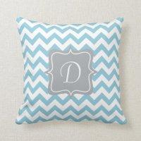 Blue and White Zigzag Monogram Throw Pillow | Zazzle