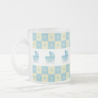 Blue and Yellow Baby Carriage Frosted Glass Mug mug