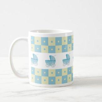 Blue and Yellow Baby Carriage Mug mug
