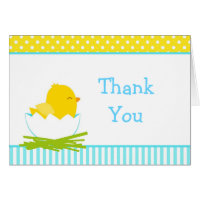 Blue and Yellow Boy Chick Thank You Card
