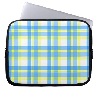 Blue and yellow plaid pattern laptop computer sleeve