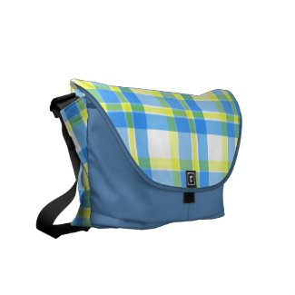 Blue and yellow plaid pattern messenger bags
