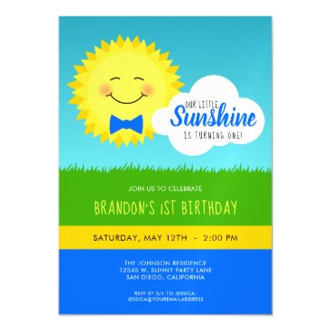 Blue and Yellow Sunshine Birthday Party Magnetic Card