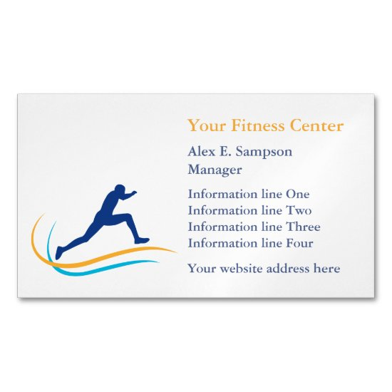 Blue Athlete Gold Swirl Fitness Magnetic Business Card