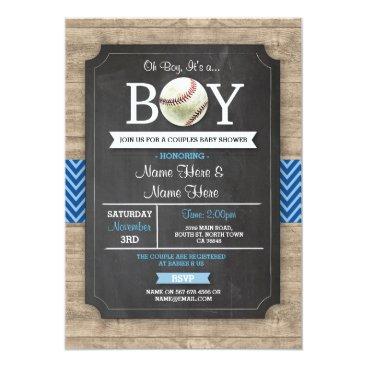 Blue Baseball Baby Shower Boy Sports Wood Invite
