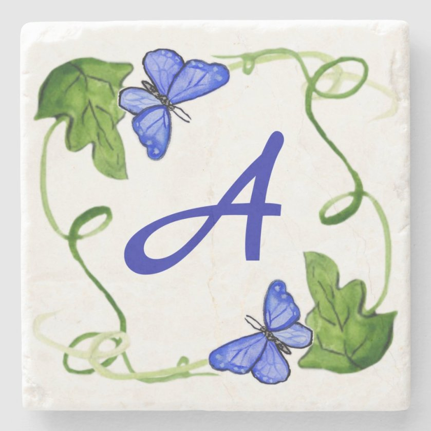 Blue Butterflies Green Leaf Custom Monogram Stone Coaster