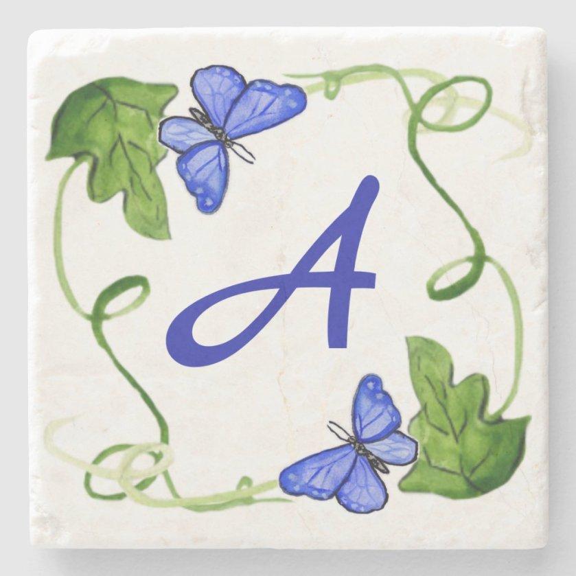 Blue Butterflies Green Leaf Custom Monogram Stone Coaster