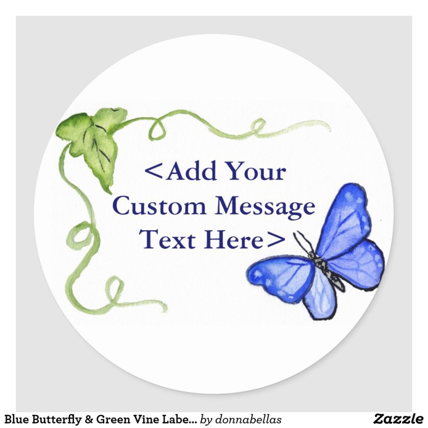 Blue Butterfly & Green Vine Label Stickers