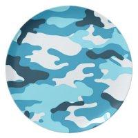 Blue camouflage | Melamine Plate | Zazzle
