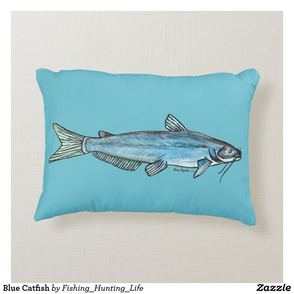 Blue Catfish Accent Pillow