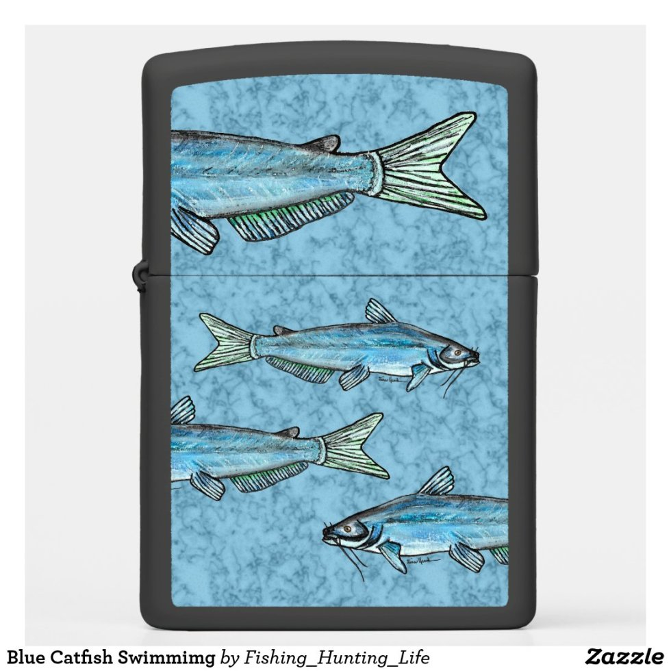 Blue Catfish Swimmimg Zippo Lighter
