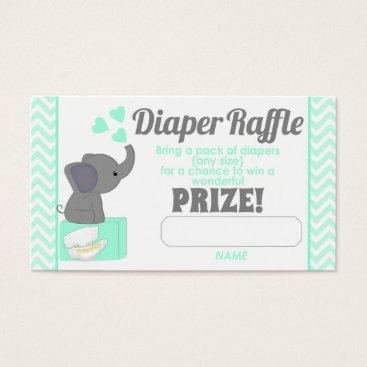 Blue Chevron Elephant Diaper Raffle Tickets #330