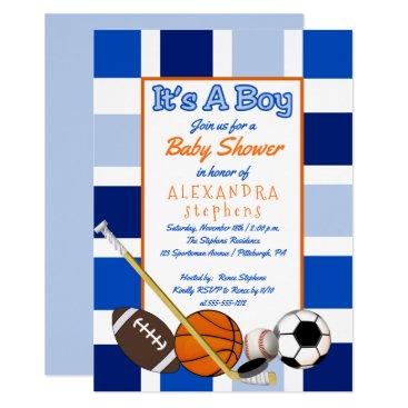 Blue Color Block Sports It's a Boy Baby Shower Invitation