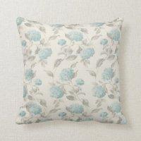 Blue & Cream Floral Pillow | Zazzle