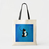 Blue Cute White And Black Cats In Love Tote Bag