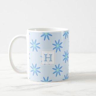 Blue Daisy: Monogram Mug