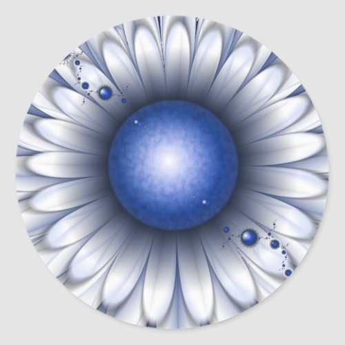 Blue Daisy Stickers Round