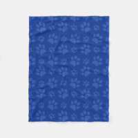 Blue dog paw print pattern fleece blanket