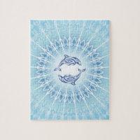 Blue Dolphins Mandala Jigsaw Puzzle
