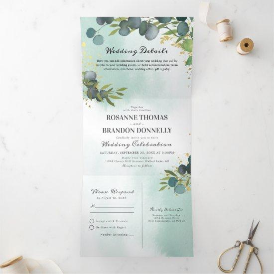 Blue Eucalyptus Greenery 3 in 1 Wedding Tri-Fold Invitation