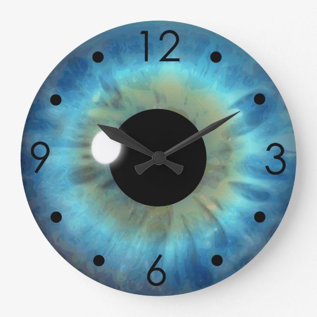 Blue Eye Iris Eyeball Custom Large Round Clock