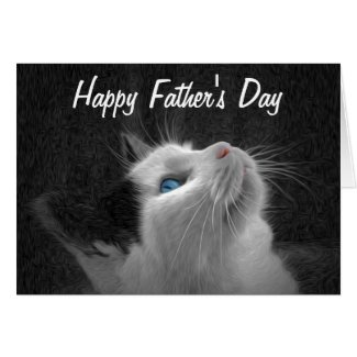 Blue Eyed Cat Photo Happy Father's Day Cards