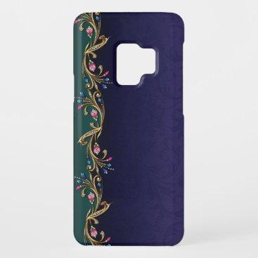 Blue & Faux Jewel Flowers Samsung Galaxy S3 Case