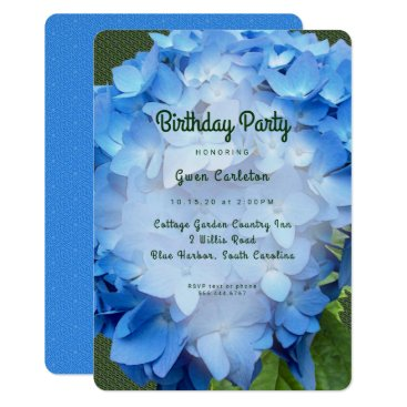 Blue Floral Hydrangea Birthday Party Invitation