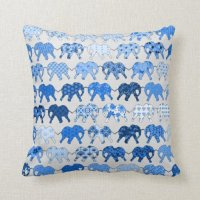 Blue Floral Pattern Elephants Pillow