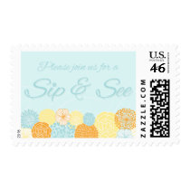 Blue Floral Sip and See New Baby Party Stamps