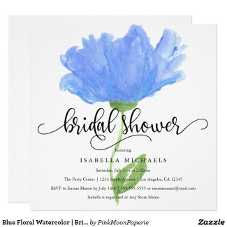 Blue Floral Watercolor | Bridal Shower Invite