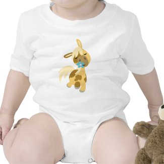 Blue Flower and Pony Baby onesie shirt