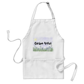 Blue Flowers Field Garden Apron (Personalize)