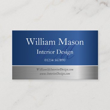 Blue Foil and Steel Effect Monogram Business Card