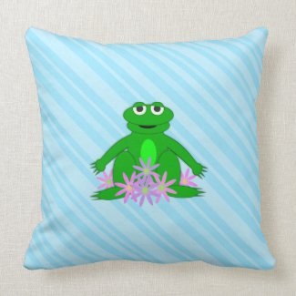 Blue: Frog On A Spring Day: Throw PIllow